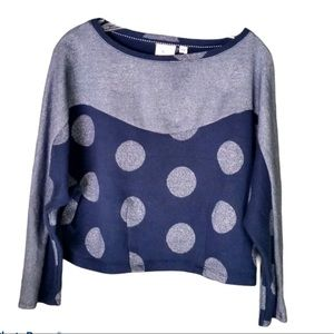 Anthropologie Postmark silver/navy cropped sweater